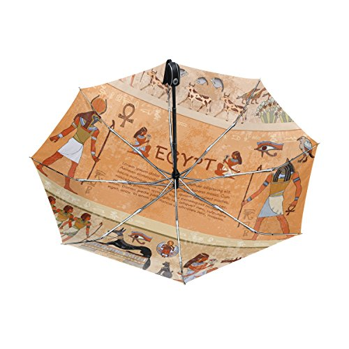 Wind Goddess Costume (Egyptian Decor Lightweight UPF 50+ Anti-UV Parasol Waterproof Windproof Reverse 3 Folds Auto Open Close Umbrella)