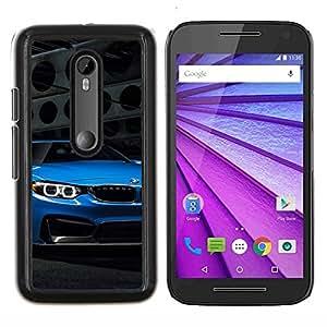 Caucho caso de Shell duro de la cubierta de accesorios de protección BY RAYDREAMMM - Motorola MOTO G3 3rd Gen - Auto azul