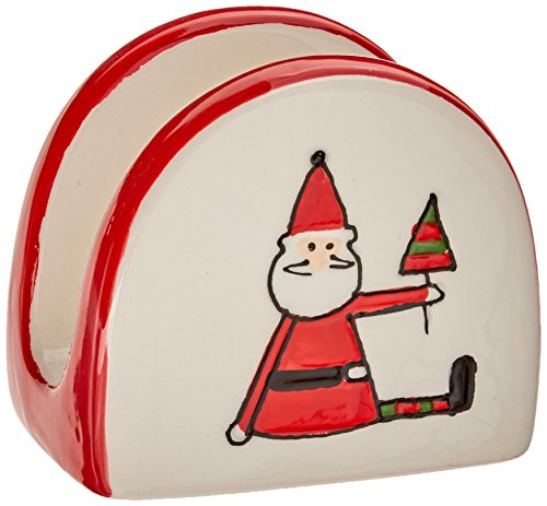 "UPC 664843815063, Pavilion Gift Company Holiday Hoopla Santa Ceramic Christmas Napkin Holder, 2.75"", Red"
