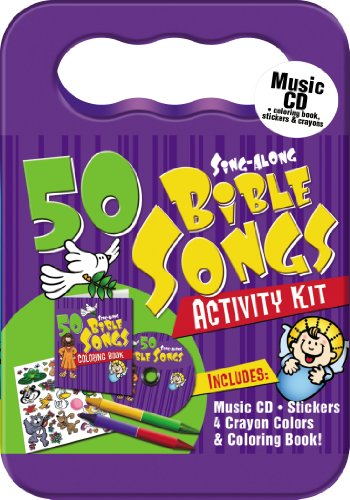 - 50 Bible Songs for Kids Activity Kit (Packaged in carrying case with Stickers, Crayons and Coloring Book)
