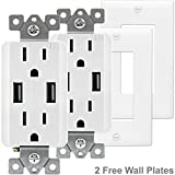 TOPGREENER TU2152A 2.1 AMP Dual USB Charger Outlet 15A Tamper Resistant Receptacle, 2 Free Wall Plates, 2 Pack, White