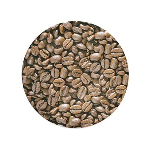 Coffee Beans Kitchen Bar Glass Cutting Board - 12 In round (Coffee Board Cutting Glass)