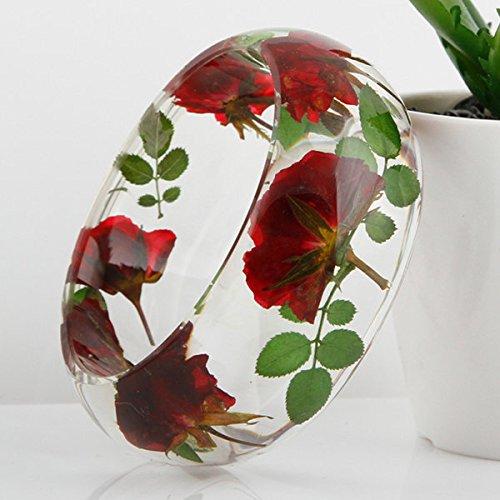 (Lucite Acrylic Handmade Real Flower Botanical Garden Resin Bangle Bracelet.{30} Inner Diameter Size 64mm,height 32mm.)