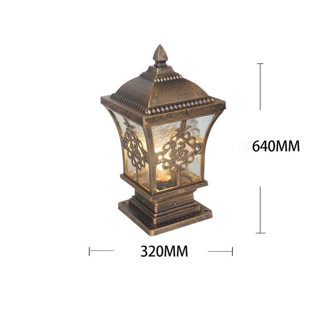 HDMY Chinese Column Basic Pedestal Post Light Traditional Lantern Outdoor Waterproof Square Fuzi Led Villa Factory Pillar Light Garden Landscape Retro Fence Gate Lamp Color : Black-M