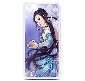 iPhone 5C Case Cover, Anime Dreamy Fantasy Ancient Beauty Polycarbonate Plastic Hardshell Case Back Cover for iPhone 5C White