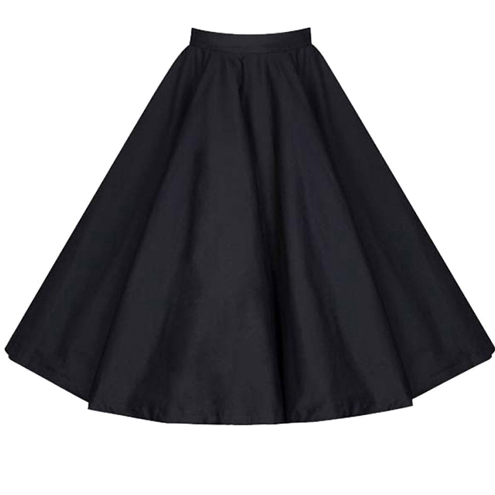 Lecimo Women's Vintage High Waist Pleated Swing A Line Midi Skirt Size M)