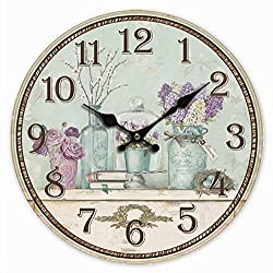 Telisha Wooden Wall Clock Purple Green Lavender Flower Vase Clock Retro Vintage Large Clock Home Decorative Country Non -Ticking Silent Quiet 14 Inch Gift