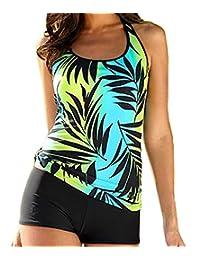 Women Leaves Print Plus Size Two Piece Sporty Swimwear Boy short Tankini Set