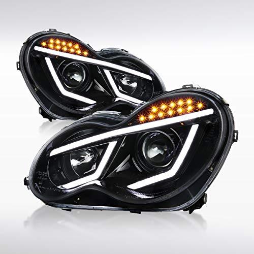 - Autozensation For Jet Black Mercedes Benz W203 C-Class C230 C320 4matic Luxury Sport LED Bar Projector Headlights Pair