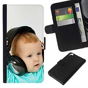 KLONGSHOP // Tirón de la caja Cartera de cuero con ranuras para tarjetas - BABY & AURICULARES - HTC Desire 820 //