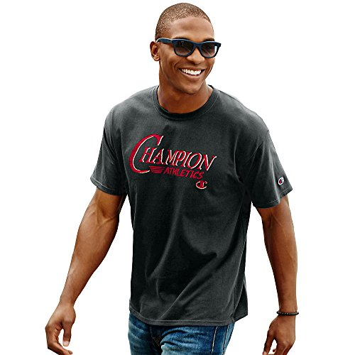 Champion Mens Cotton-Rich Graphic T Shirt (GT81) -BLACK/BRAN -S