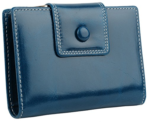 YALUXE Womens Compact Tri Fold Leather