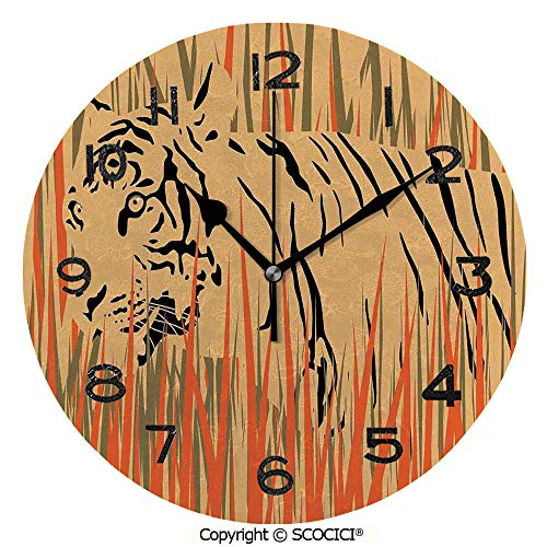 SCOCICI 10 inch Round Clock Tiger in The Bushes Camouflage Carnivore Predator Feline Africa Animal Art Unique Wall Clock-for Living Room, Bedroom or Kitchen Use