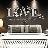 Wall Stickers, LandFox Stylish Removable 3D Leaf LOVE Wall Sticker Art Vinyl Decals Bedroom Decor (Black)