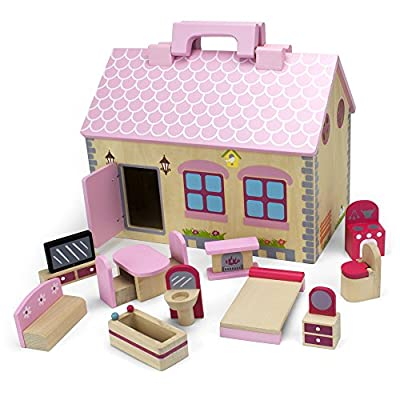 Melissa & Doug Fold and Go Wooden Princess Castle With 2 Royal Play Figures, 2 Horses, and 4 Pieces of Furniture