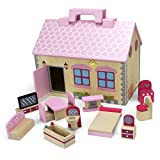 Fisher Price Vanity Wooden Wonders Take-Along Country Cottage Folding Dollhouse with 13 Pieces of Furniture by Imagination Generation