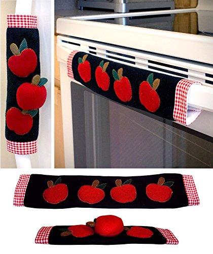 Stoves Kitchen Appliances (Kitchen Appliance Handle Covers with Apple Design, Stove Handle Covers, Refrigerator Handle Covers Wrap Around - Kitchen Gift, Kitchen Decor Set of 2 Pieces.)