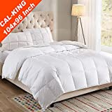 WhatsBedding 100% Cotton Cover White Goose Duck Down and Feather Comforter,Hypoallergenic. All Season Duvet Insert or Stand-Alone Comforter (California King)