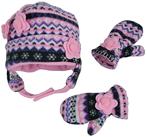 Toddler Hat Gloves - N'Ice Caps Girls Fair Isle Print Micro Fleece Hat and Mitten Set (3-5 Years, Black Fair Isle/Neon Pink)