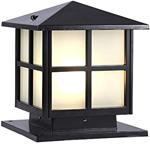 KMMY Square Pillar Light Frosted Glass Outdoor Garden Post Lamp Lights Waterproof IP55 Brick Columns Pathway Lighting for Terrace Patio (Color : Black, Size : H-28cm)