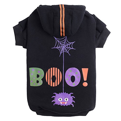 PUPTECK Dog Hoodie Sweater - Boo Shirt Pet Sweatshirt Puppy Clothes Printed Style Black Extra -