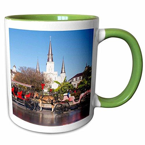Jackson Square Light (3dRose Danita Delimont - History - US, New Orleans. Jackson Square carriage rides line up in morning - 11oz Two-Tone Green Mug (mug_230846_7))