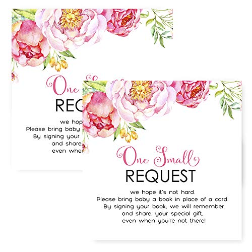 Mod Floral Bring a Book for Baby Shower Invitation Insert Cards Set of 25 (Invite Mod)