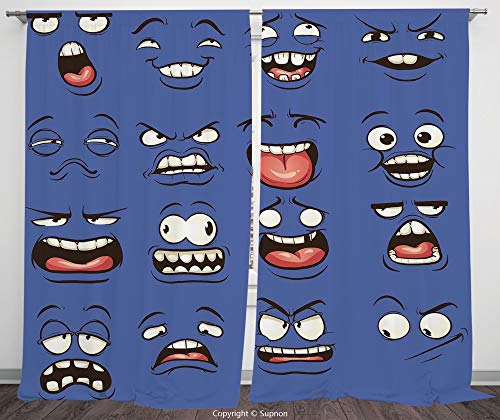 Rod Pocket Curtain Panel Polyester Translucent Curtains for Bedroom Living Room Dorm Kitchen Cafe/2 Curtain Panels/120 x 66 Inch/Emoji,Smiley Surprised Sad Fierce Happy Sarcastic Angry Mood Faces Expr ()