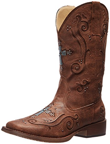 ROPER Women's Crystal Cross Square Toe Boot, Brown, 7 - Cross Cowgirl