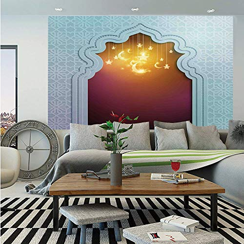 - Moroccan Huge Photo Wall Mural,Mosque Door with Star and Moon Art Arabic Words Ramadan Design Decorative,Self-Adhesive Large Wallpaper for Home Decor 108x152 inches,Pale Blue Maroon Apricot