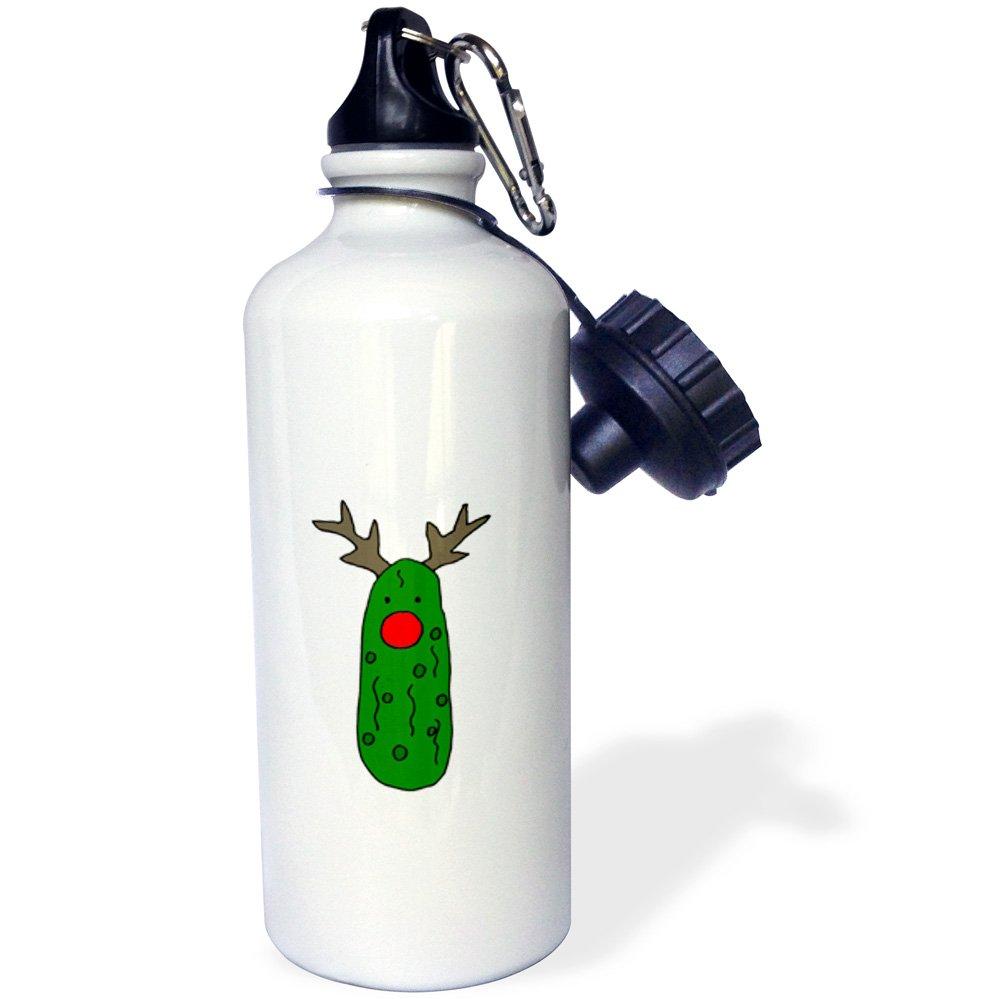 3dRose wb/_220494/_1 Funny Santa Claus Riding a Bicycle Christmas Art Sports Water Bottle White 21 oz