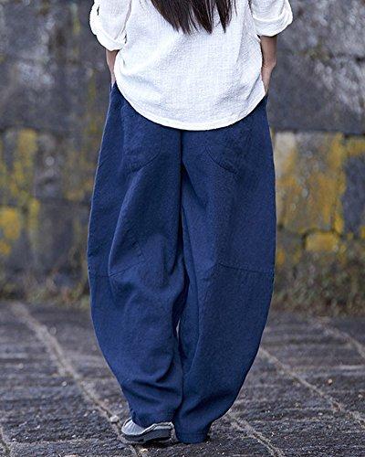 Runyue Bloomers In Bodeaux A Elastica Pantaloni Militare Lino Confortevoli Vita E OneSize Donna Marina Pantaloni Larghi Palazzo WUrFCUn