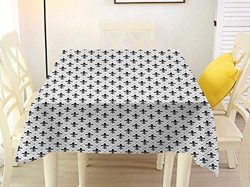 - L'sWOW Square Tablecloth for Card Table Fleur De Lis French Culture Inspired Motifs Dotted Lines Medieval Design Floral Pattern Black White Western 54 x 54 Inch