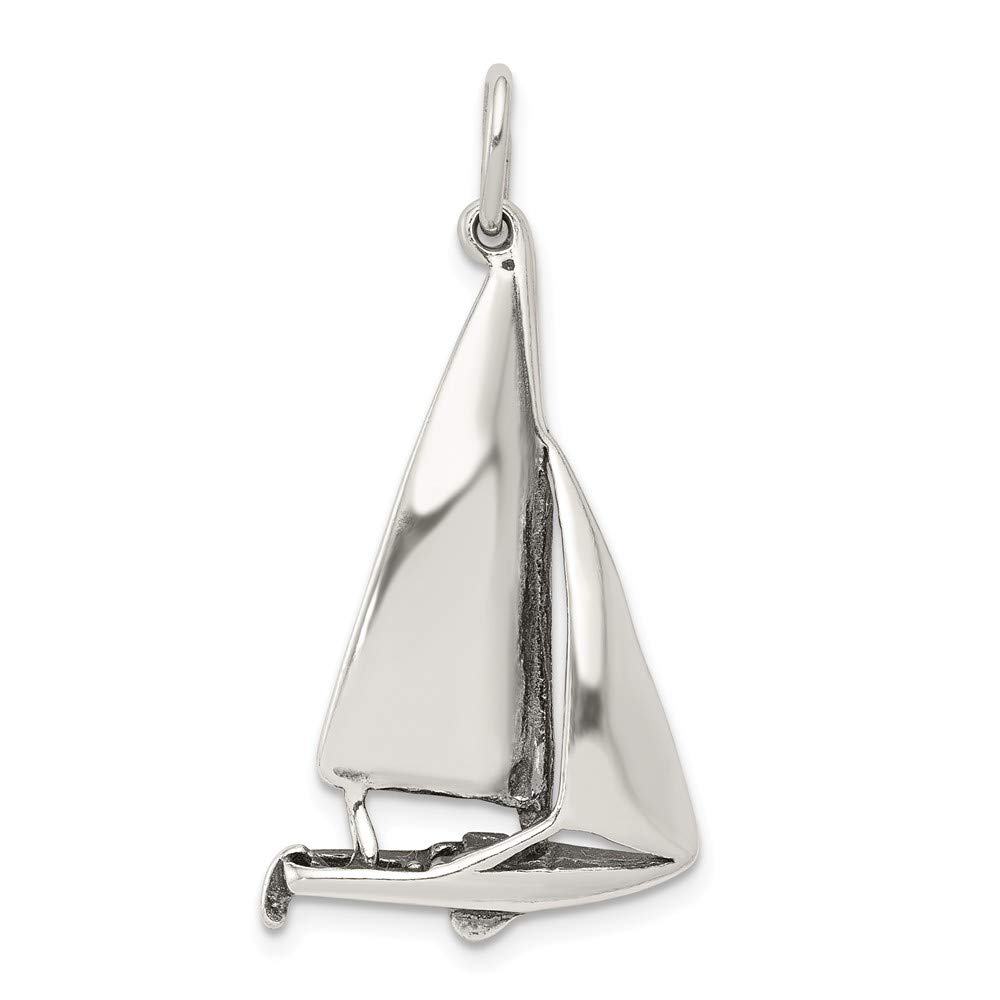 Mia Diamonds 925 Sterling Silver Solid Antiqued Sailboat Charm 33mm x 21mm