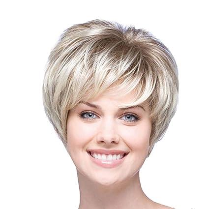 Staresen Pelucas Fabulosa peluca sintética para mujer, pelo corto lacio, rubia oxigenada, tan