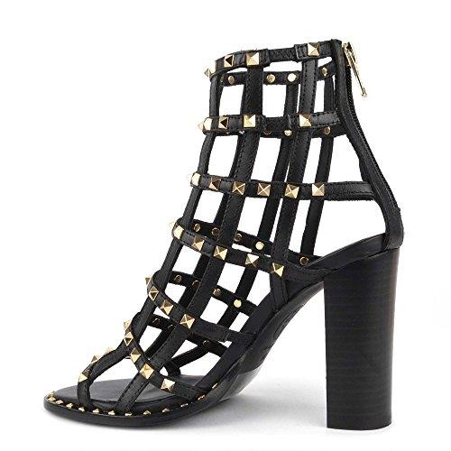 Ash Footwear Linx Black Leather Studded Heeled Sandal Black gdb4Xj