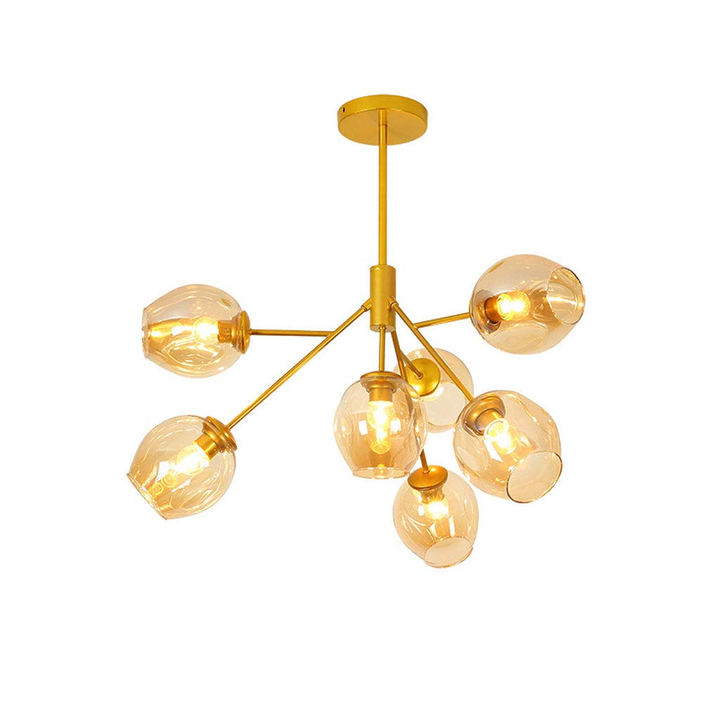 0169 Chandelier LED Electroplating Iron 7 Head Molecular LampModern Personality Living Room Dining Bedroom Glass Lightwith No Light Source Color