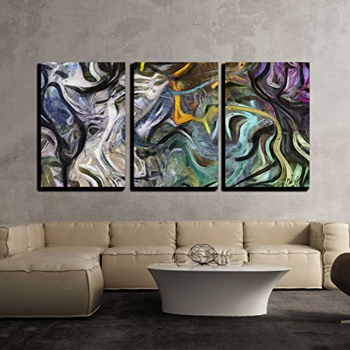 wall26 - 3 Piece Canvas Wall Art - Fluid Lines of Color Movement. - Modern Home Decor Stretched and Framed Ready to Hang - 24