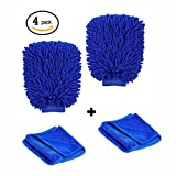 #2: Microfiber Wash Mitt ,Extra Large Size Premium Microfiber Chenille Super Absorbent Wash and Wax Glove. 2 pack Car Wash Mitts and 2 pack Premium Towel (Blue)