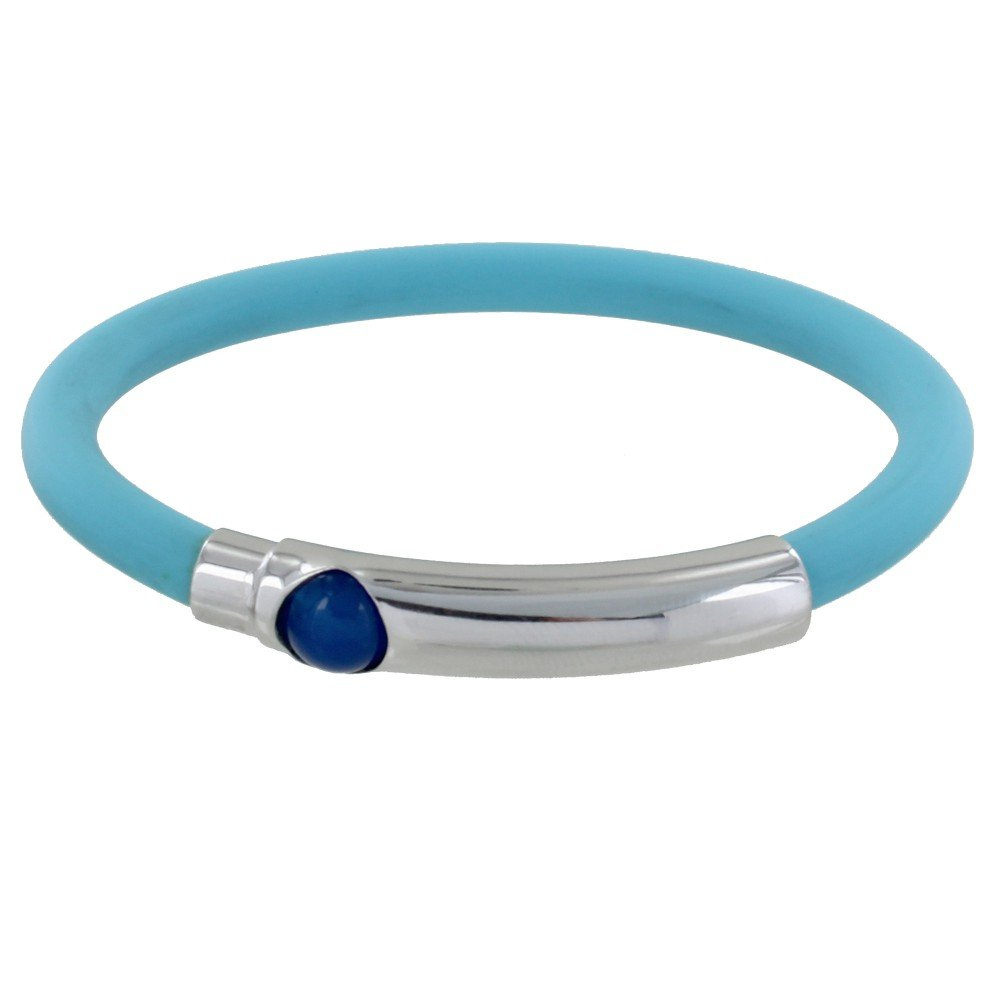 Les Poulettes Jewels - Silver Bracelet Dark Blue Ball Turquoise Silicone