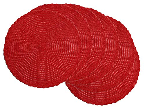 (U'Artlines Indoor & Outdoor Round Cotton Placemat, Perfect for Fall, Dinner Parties, BBQs, Christmas Parties and Everyday Use (6pcs placemats,)