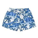 NUWFOR Kids Baby Girl Hawaiian Print Broek Elastic Waistband Beach Shorts Summer (Blue,3-4 Years)