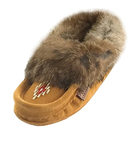 Laurentian Chief Suede Slippers with Rabbit Fur Collar Moccasins (Toddler/Little Kid/Big Kid) (2 Youth)