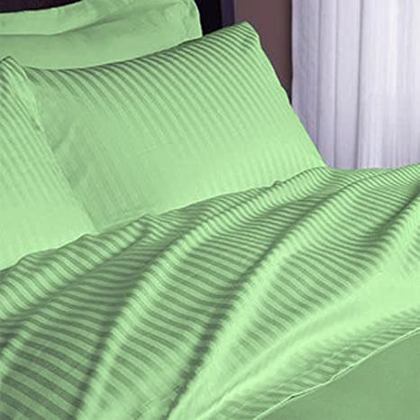 100/% Pure Cotton Stripe Sage Double Size 4 Piece Complete Bed Sheet Set 800 Thread Count Sateen Weave 35 Cm Deep Pocket Quality Luxury Bedding By MahendraSales Soft Natural