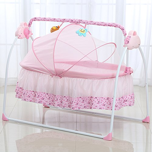 Lowest Prices! Decdeal Electric Baby Portable Bassinet Cradle, Auto Remoter Control Swing Rocking Sl...