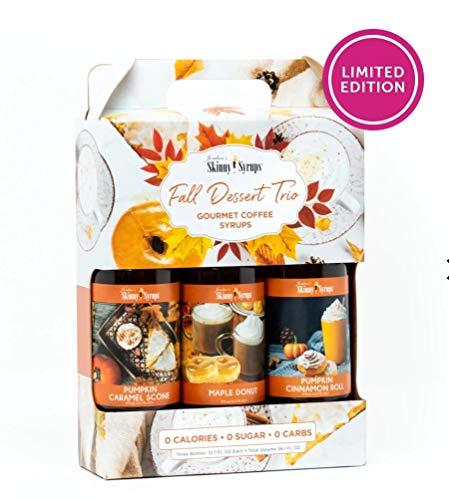 Jordan's Skinny Syrups Fall Dessert Trio: Pumpkin Cinnamon Roll, Maple Donut and Pumpkin Caramel Scone (Best Selling Snow Cone Flavors)