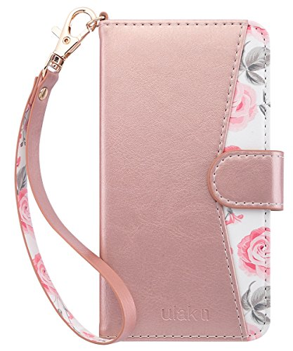 Flip Open Cell - ULAK Flip Wallet Case for iPhone 6S & 6 with Kickstand Card Holder ID Slot and Hand Strap Shockproof Cover for Women for Apple iPhone 6s/6 4.7, Rose Gold Floral
