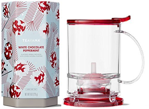 Teavana Set: Dark Red Perfectea Maker 16 oz and White Chocolate Peppermint Loose Leaf Herbal Tea 8 oz Tin
