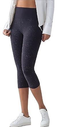 Lululemon Free To Flow Crop Yoga Pants (Midnight Navy White, 8)