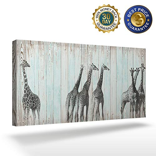 OUR WINGS Canvas Print Wall Art Decor Light Green Vintage Wood Texture Background Animal Pattern Giraffe Portrait Wall Art Painting The Picture Print On Canvas for Home Modern Decoration 16x32in]()